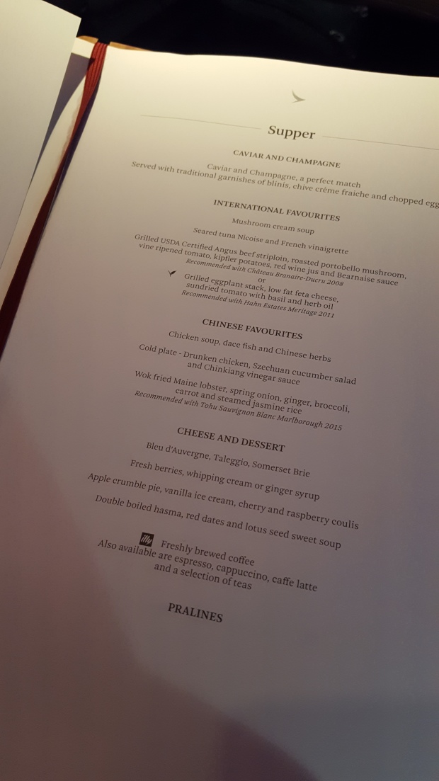 Menu on Cathay Pacific Flight