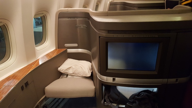 Seat 1A on Cathay Pacific